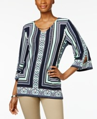 Jm Collection Embellished Printed Tunic Only At Macy's Blue Mumbai Angle