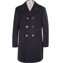 Thom Browne Double Breasted Melton Wool Peacoat Midnight Blue