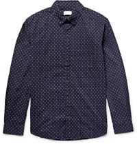 Club Monaco Slim Fit Button Down Collar Printed Cotton Poplin Shirt Navy