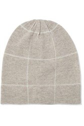 Madeleine Thompson Ross Checked Wool And Cashmere Blend Beanie Cream
