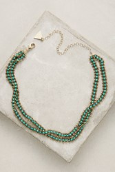 Anthropologie Layered Stone Choker Green
