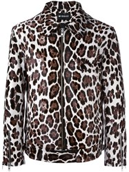 Misbhv Calf Hair Leopard Print Jacket Brown