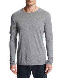 Vince Double Layer Cotton Modal Long Sleeve T Shirt Gray