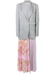 Natasha Zinko Printed Pleated Skirt Blazer Grey