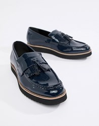 Truffle Collection Patent Tassel Loafers Navy