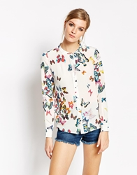 American Retro Butterly Print Long Sleeve Shirt Black