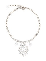 Dolce And Gabbana Crystal Embellished Chandelier Necklace Metallic