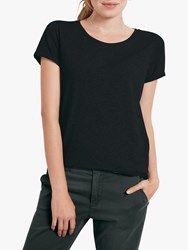 Hush Cotton Slub Crew Neck T Shirt Black