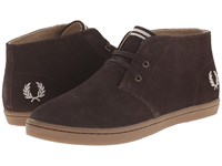 Fred Perry Byron Mid Suede Dark Chocolate Sandstorm Men's Lace Up Casual Shoes Brown