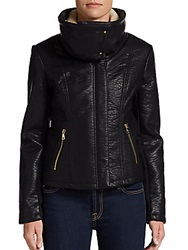 Sam Edelman Faux Leather And Faux Sherpa Motocross Jacket Black