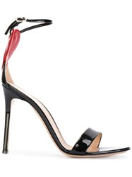 Gianvito Rossi Love Cut Out Heart Sandals Leather Black