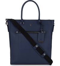 Mcm Markus Medium Leather Tote Navy