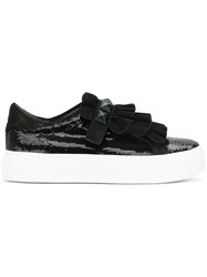 Kennel Schmenger And Sequin And Ruffle Trim Platform Sneakers Black