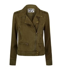Pam And Gela Moto Biker Jacket Female Green