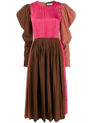 Rejina Pyo Pleated Midi Dress Brown