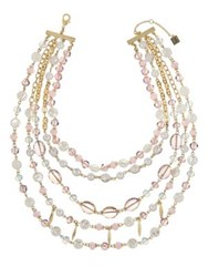 Laundry By Shelli Segal Goldtone Beaded Layer Necklace Pink