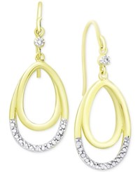 Victoria Townsend Diamond Accent Double Loop Hoop Earrings In 18K Gold Plated Sterling Silver Two Tone