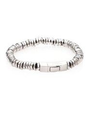 Tateossian Scoubidou Leather And Sterling Silver Disc Beads Bracelet