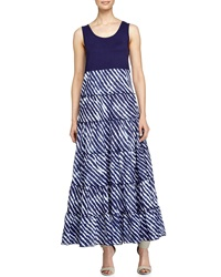 Neiman Marcus Tiered Prairie Skirt Maxi Dress Blue Chambray