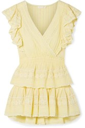 Loveshackfancy Gwen Ruffled Lace Trimmed Broderie Anglaise Cotton Mini Dress Pastel Yellow