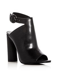 Kendall And Kylie Gigi Leather Peep Toe High Heel Booties Black