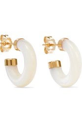 Loren Stewart Stone Gold Mother Of Pearl Hoop Earrings One Size