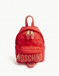 Moschino Logo Quilted Nylon Mini Backpack Red