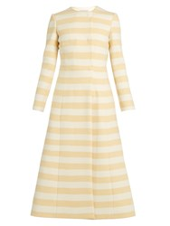 Emilia Wickstead Dominique Striped Wool Blend Coat Yellow White