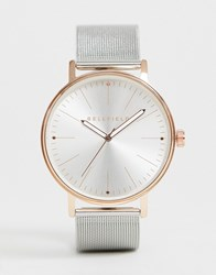 Bellfield Silver Mesh Bracelet Watch With Rose Gold Tone Case
