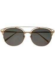 Linda Farrow Round Sunglasses Gold