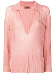 Missoni Deep V Neck Knitted Top Pink