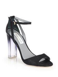 Monique Lhuillier Ava Lucite Heel Metallic Suede And Patent Leather Sandals Black