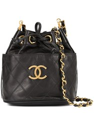 Chanel Vintage Cosmos Line Drawstring Shoulder Bag Black