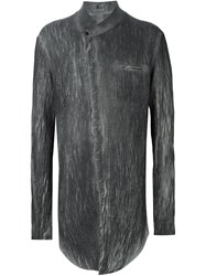 Lost And Found Mandarin Collar Shirt Grey