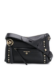 Michael Kors Collection Studded Logo Shoulder Bag Black