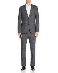 Hugo Aret Hetohm Tonal Plaid Slim Fit Suit Dark Grey