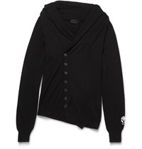 Alexander Mcqueen Slim Fit Shawl Collar Asymmetric Cashmere Cardigan Black