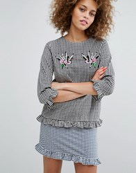 Style Nanda Stylenanda Gingham Top With Sequin Patches Navy