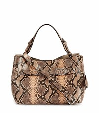 Reiss Bleecker Mini Snake Snake Print Structured Leather Mini Bag In Apricot