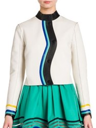 Fendi Asymmetrical Button Front Leather Jacket White Turquoise