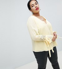 Lovedrobe Blouse With Ruched Sleeve Yellow