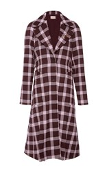 Christopher Kane Wool Check A Line Coat Plaid