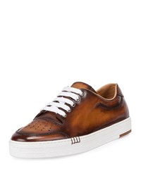 Berluti Calf Leather Tennis Shoe Brown