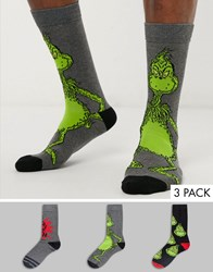 New Look Grinch All Over Print 3 Pack Socks In Multi
