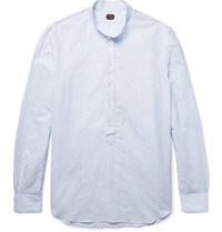 Massimo Piombo Mp Grandad Collar Striped Slub Linen And Cotton Blend Shirt Light Blue