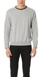 3.1 Phillip Lim Roll Edge Crew Neck Sweatshirt With Zipper Light Grey