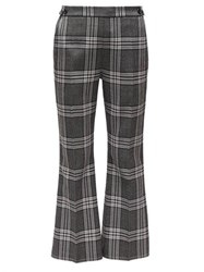Marni Checked Twill Cropped Flared Trousers Grey Multi