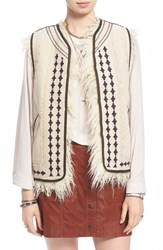 Free People Faux Fur Embroidered Reversible Vest Almond