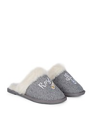 Saks Fifth Avenue Slip On Faux Fur Lined Slippers Light Grey