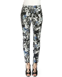 Erdem Sidney Floral Print Stretch Cotton Trousers Black Blue